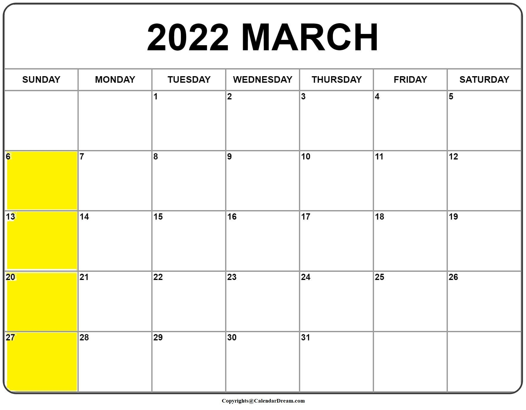 Printable March 2022 Calendar With Holidays In Pdf Word