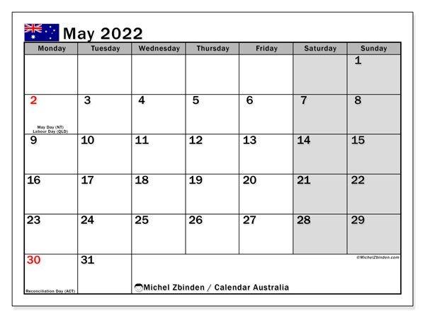 "Printable May 2022 ""Australia"" Calendar - Michel Zbinden En"