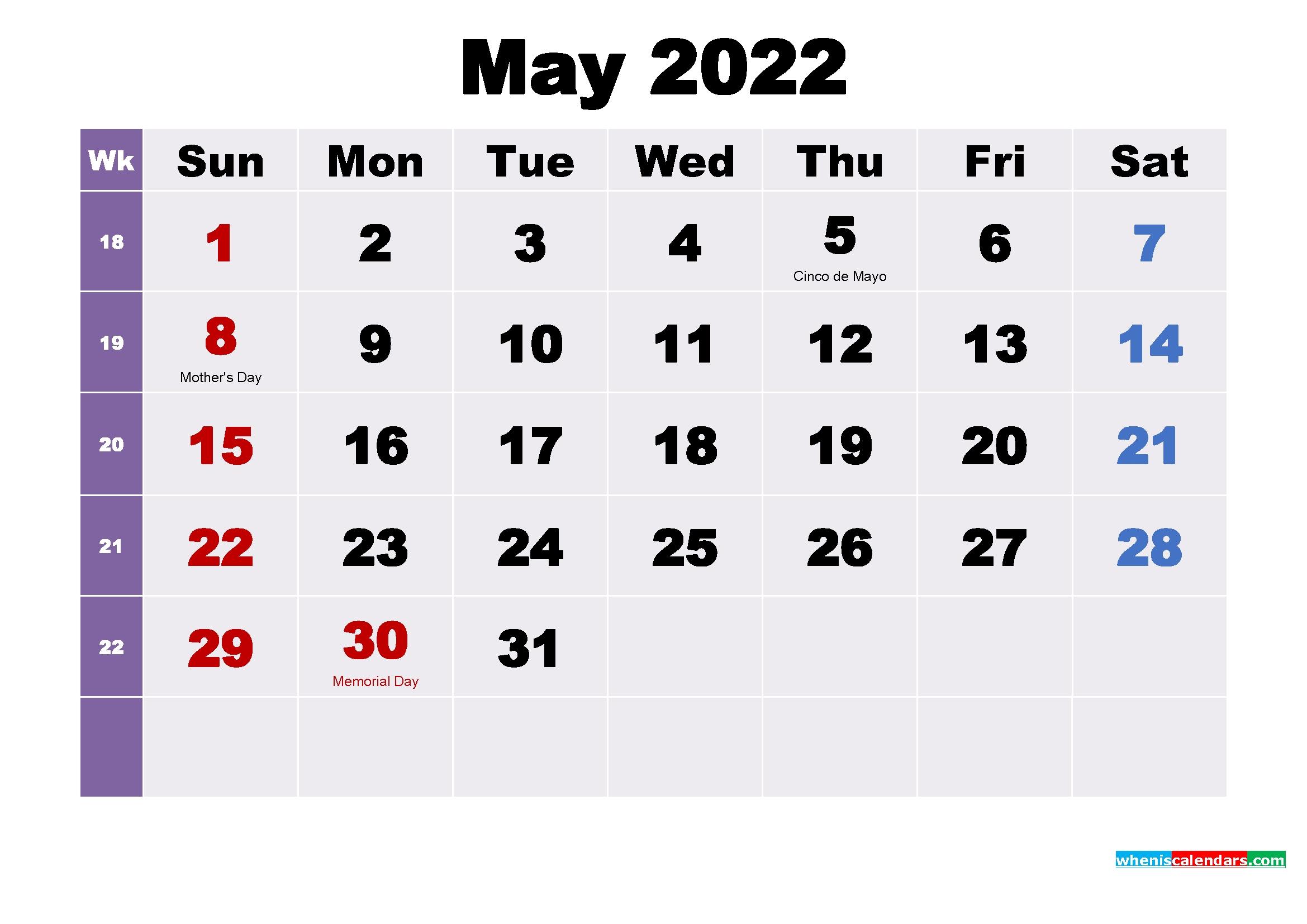 Printable May 2022 Calendar With Holidays Word, Pdf