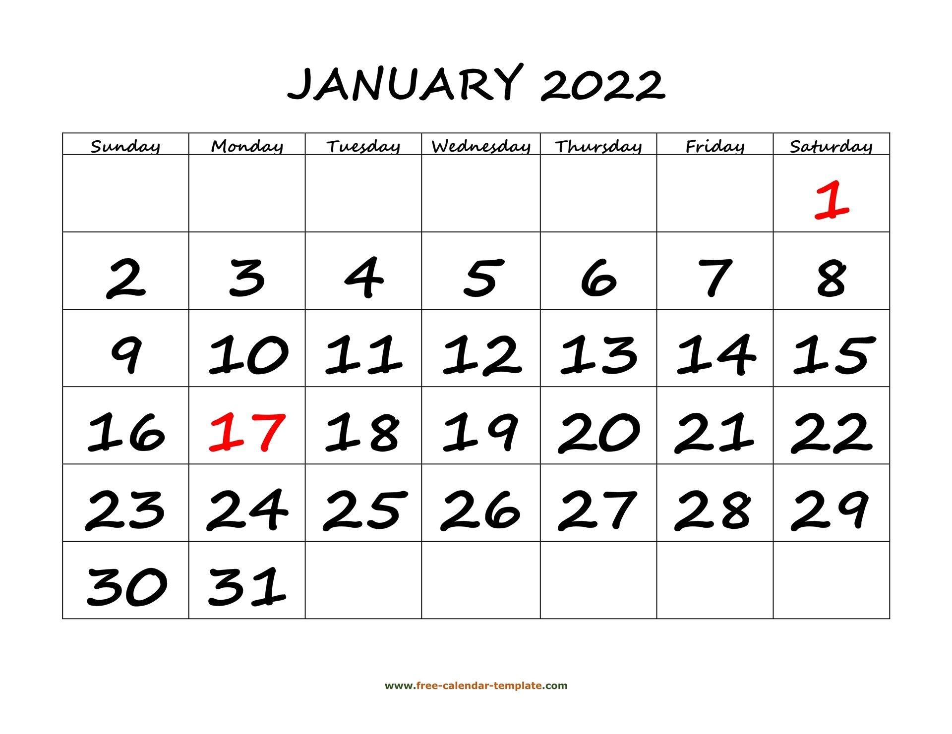Printable Monthly Calendar 2022 | Free-Calendar-Template