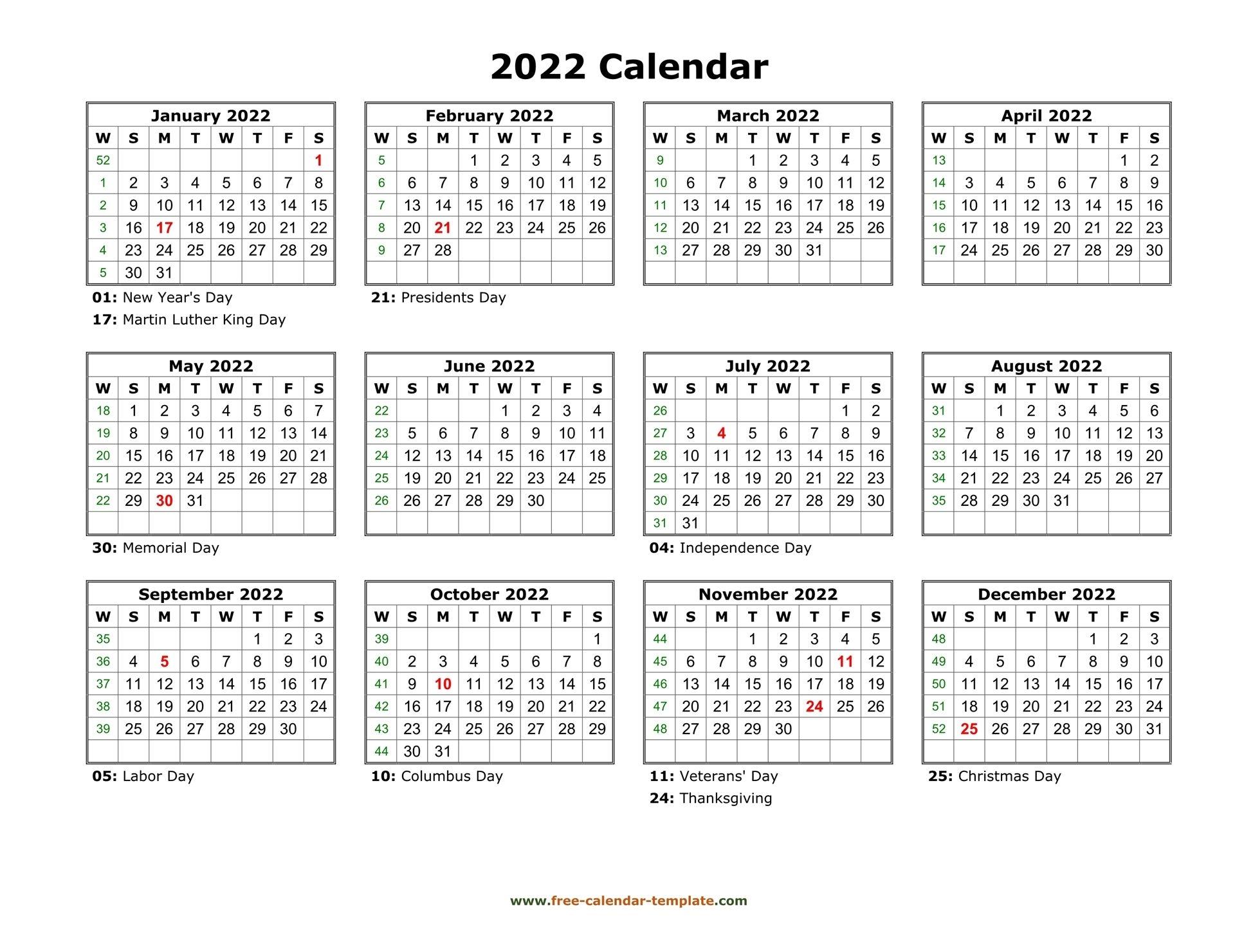 Printable Yearly Calendar 2022 | Free-Calendar-Template
