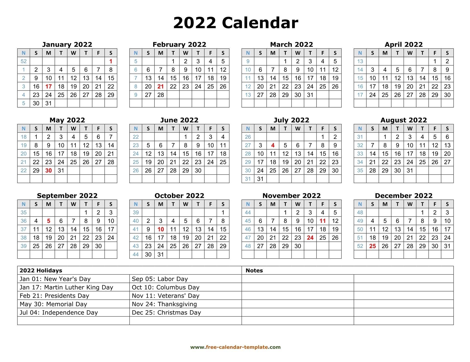 Printable Yearly Calendar 2022   Free-Calendar-Template