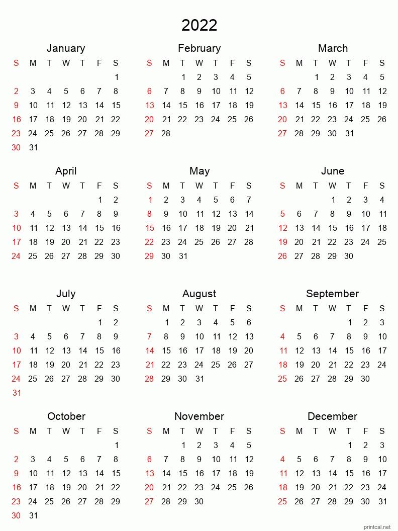 Printable Yearly Calendar 2022, Full-Year | Free Printable