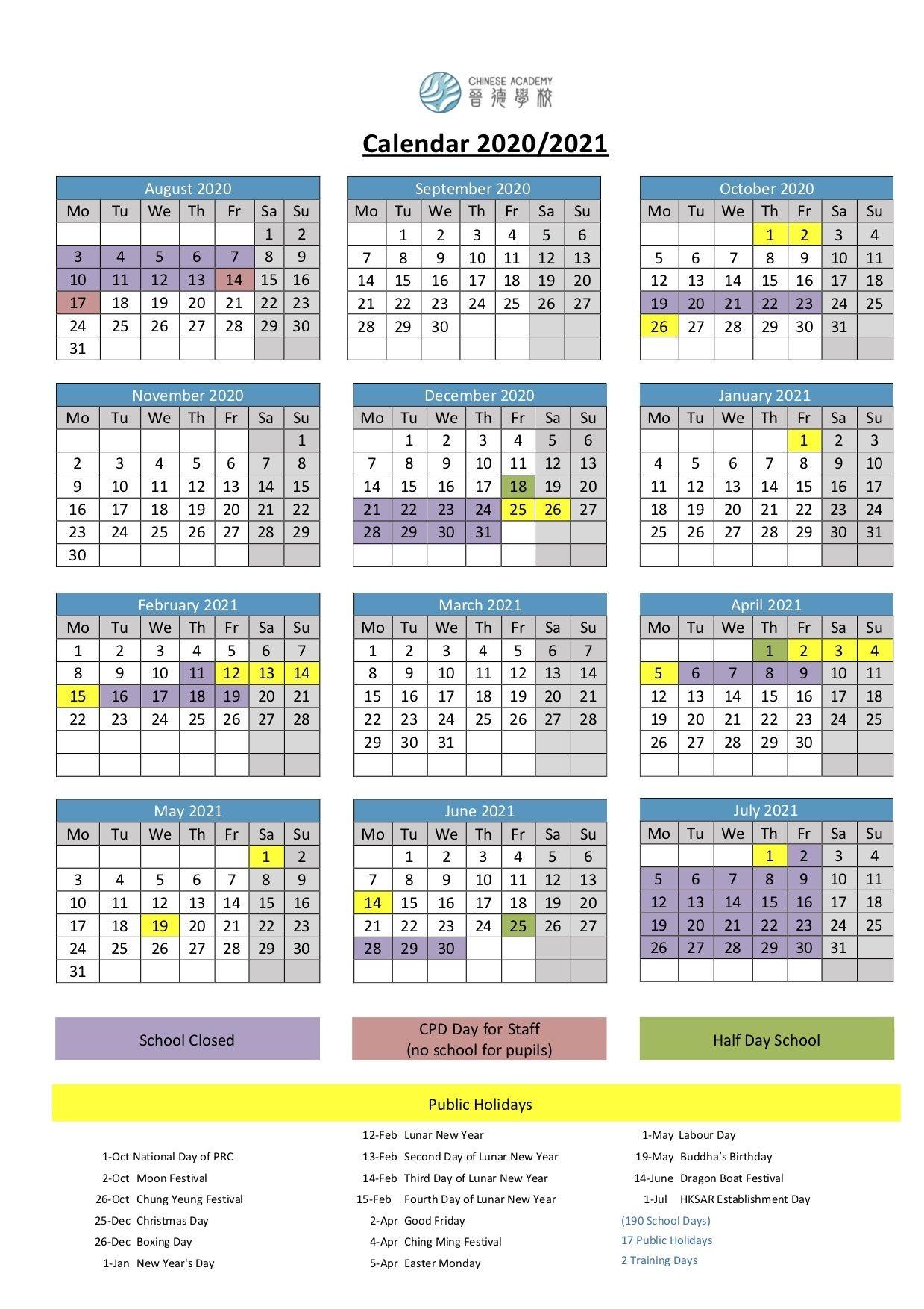 School Calendar 2020/2021 - Chinese Academy 晉德學校