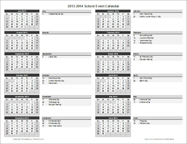 School Calendar Template - 2021-2022 School Year Calendar