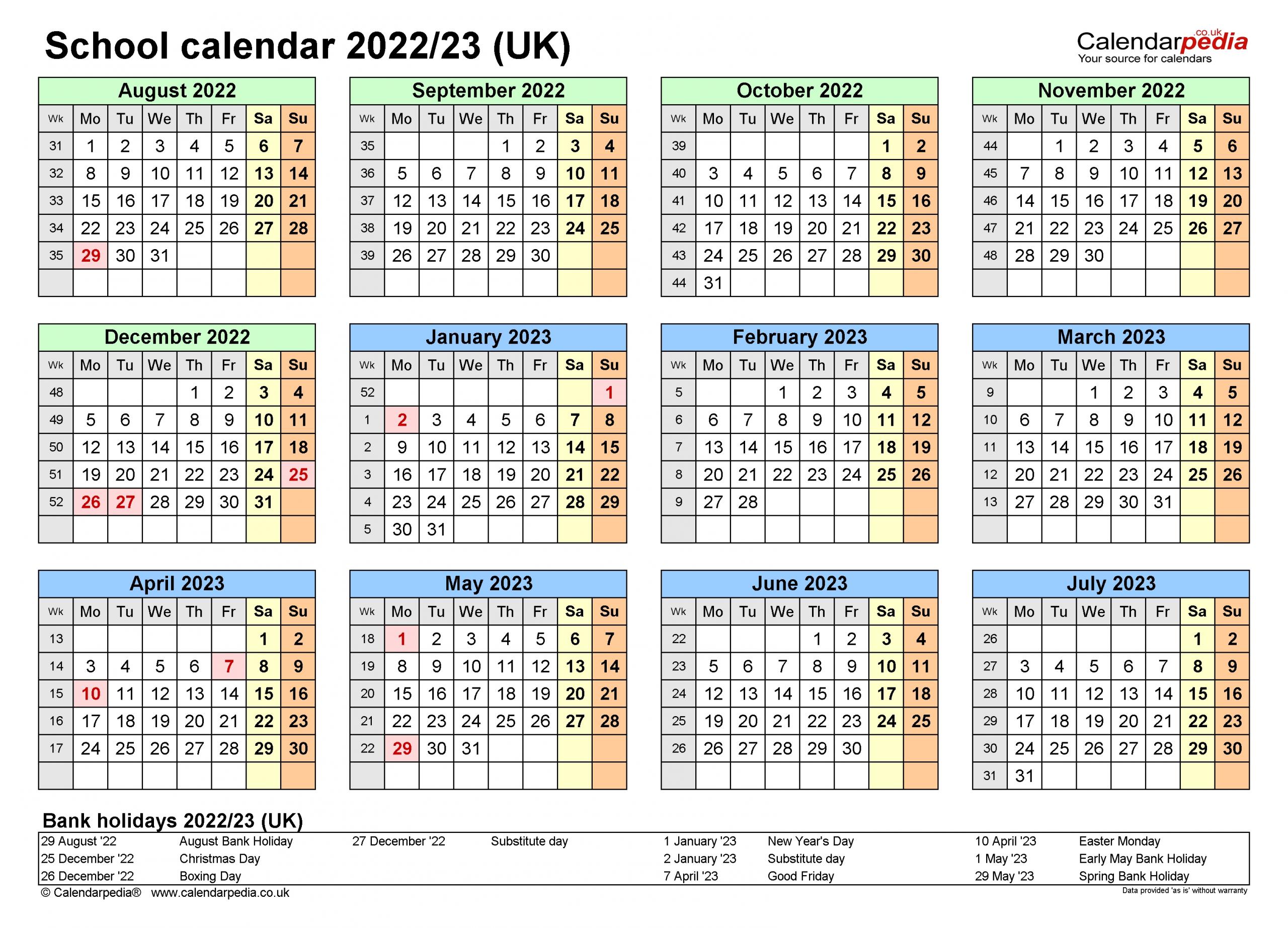 School Calendars 2022/23 Uk - Free Printable Word Templates