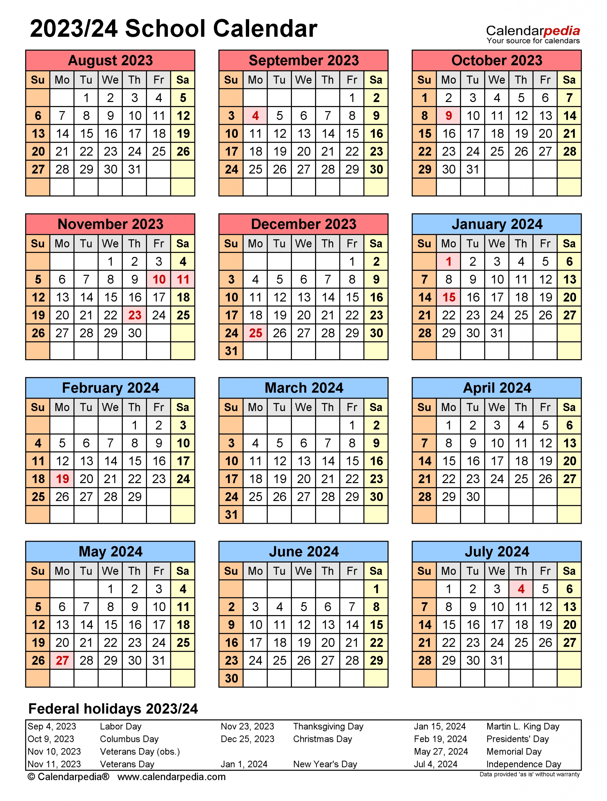 School Calendars 2023/2024 - Free Printable Pdf Templates