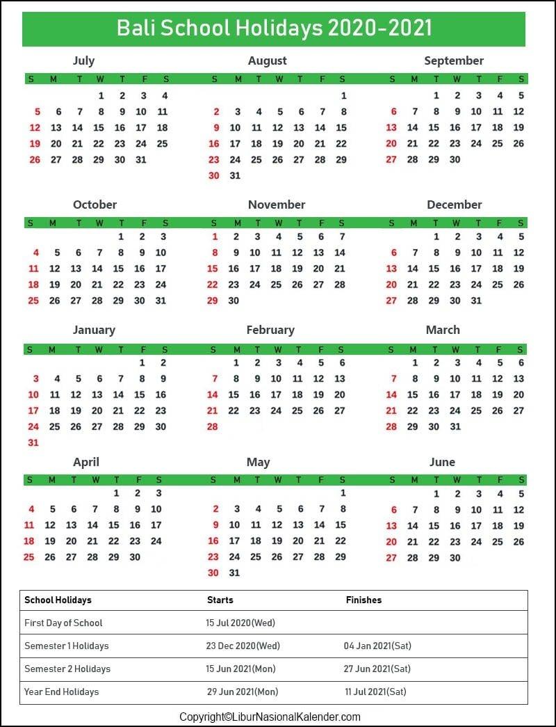 School Holidays Bali 2020-2021 [Academic Calendar Bali