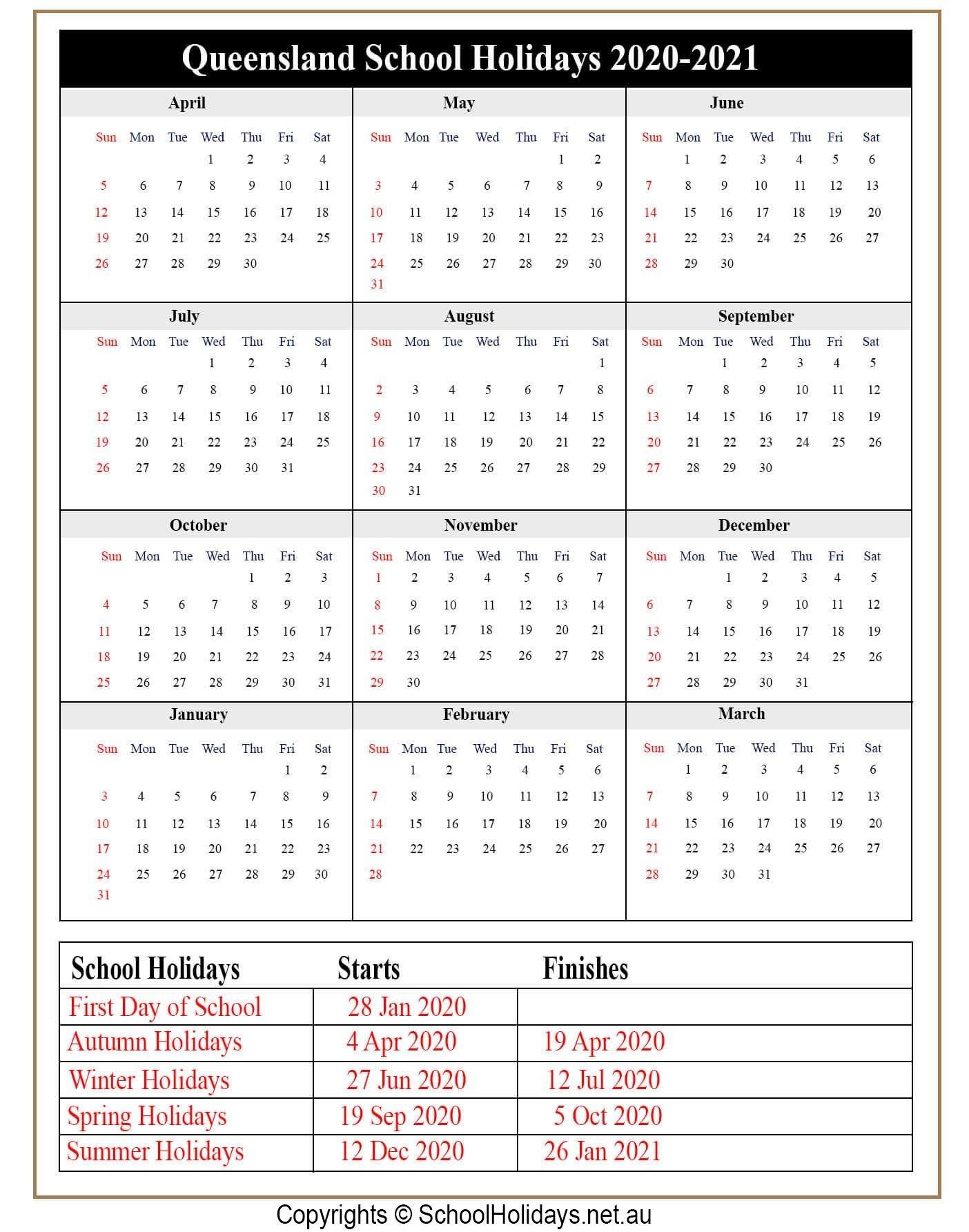 School Holidays Qld 2021   Calendar Printables Free Blank