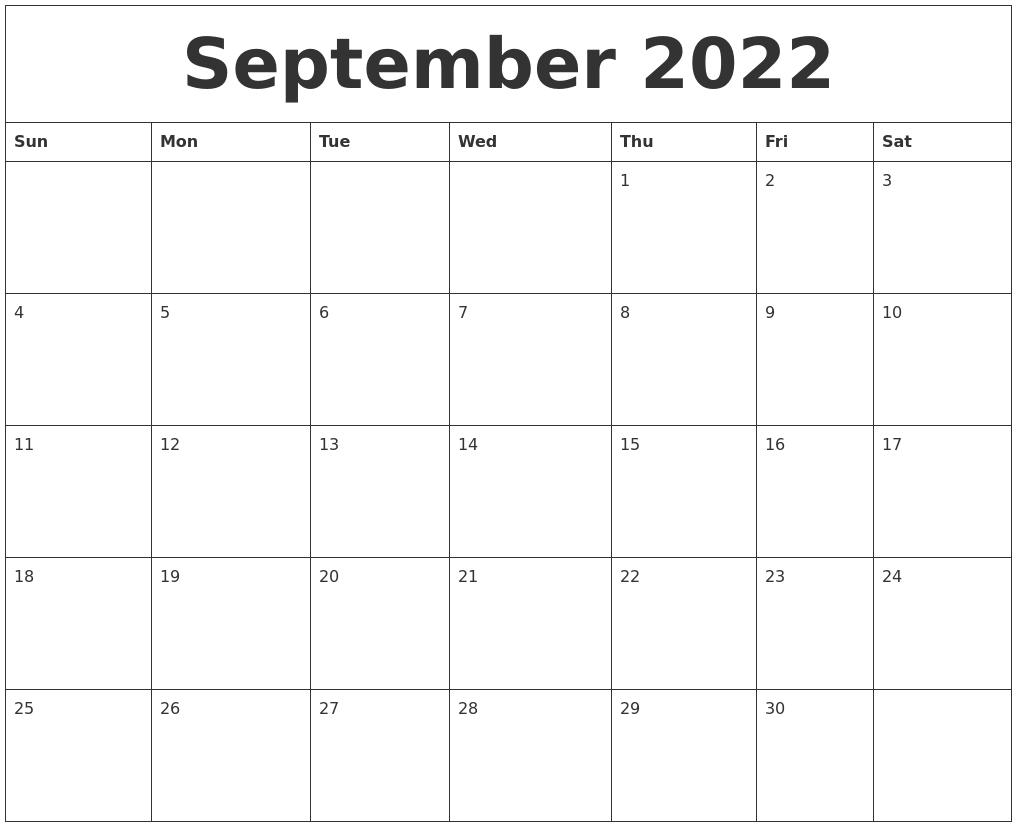 September 2022 Blank Schedule Template