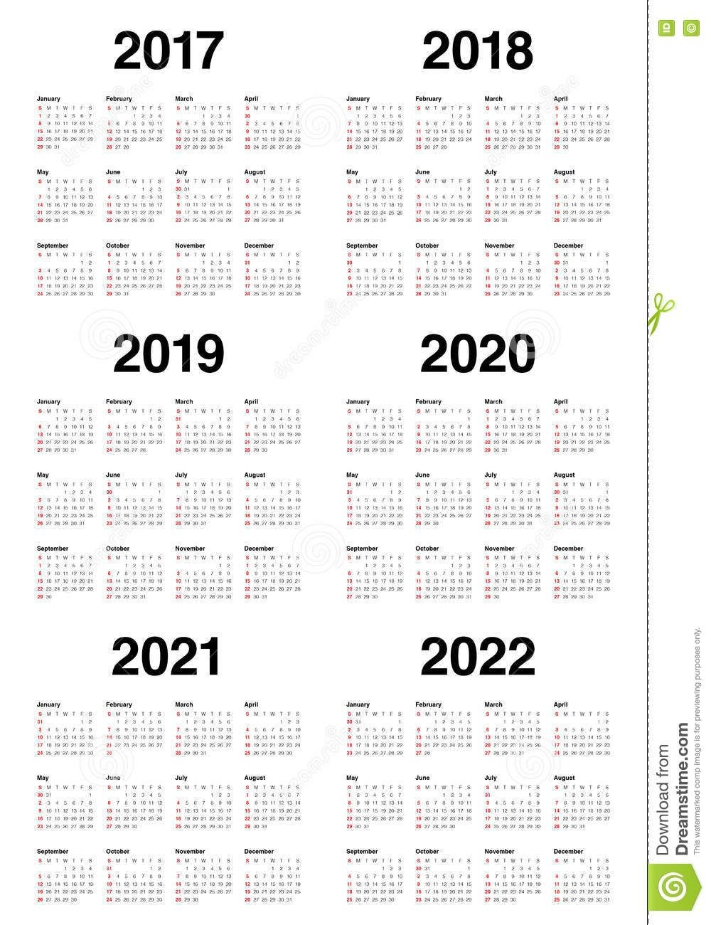 Simple Calendar Template For 2017 To 2022 Stock Vector