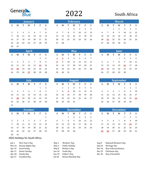 South Africa Calendars With Holidays