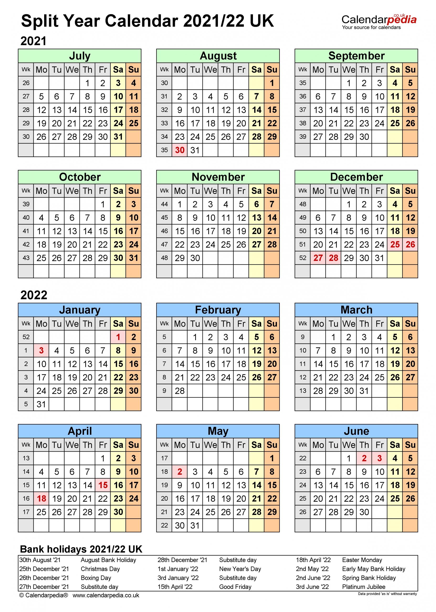Split Year Calendar 2021 2022 | Printable March