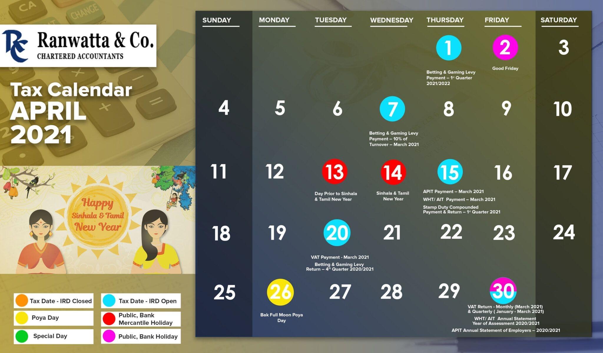 Tax Calendar In Sri Lanka 2021   Ranwatta & Co