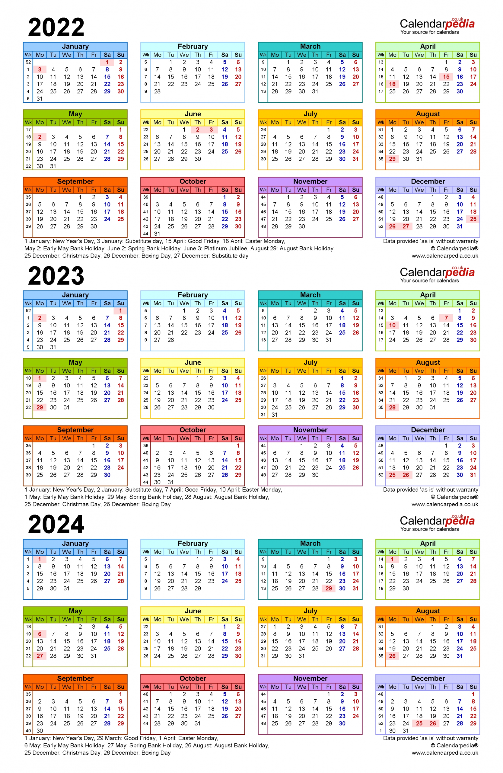 Three Year Calendars For 2022, 2023 & 2024 (Uk) For Pdf