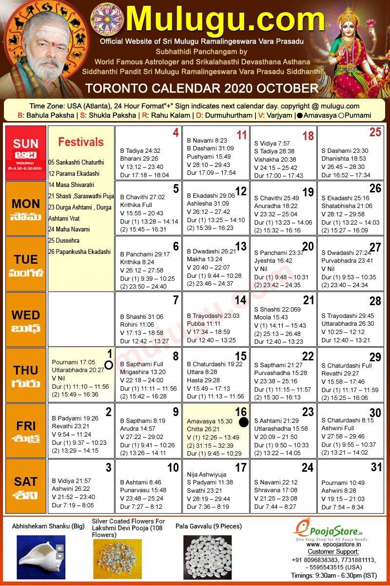 Toronto Telugu Calendar 2020 October | Mulugu Calendars