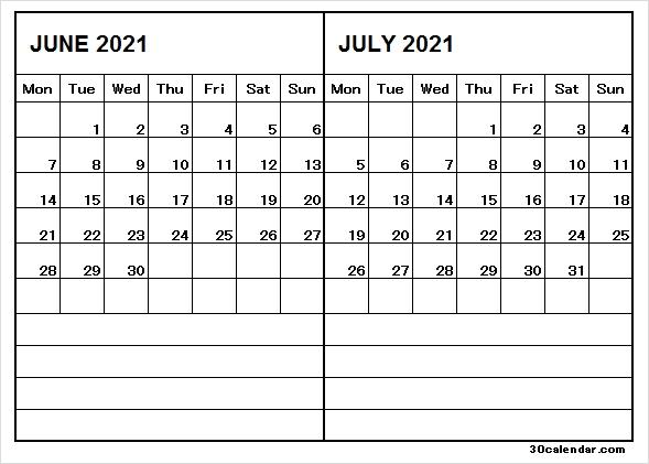 Two Month Calendar Jun Jul 2021 - June 2021 Calendar