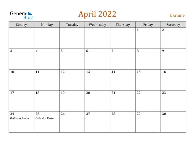 Ukraine April 2022 Calendar With Holidays