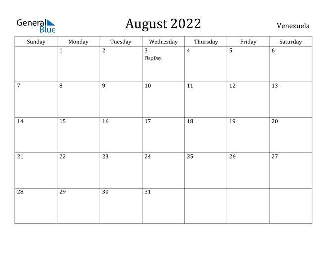 Venezuela August 2022 Calendar With Holidays