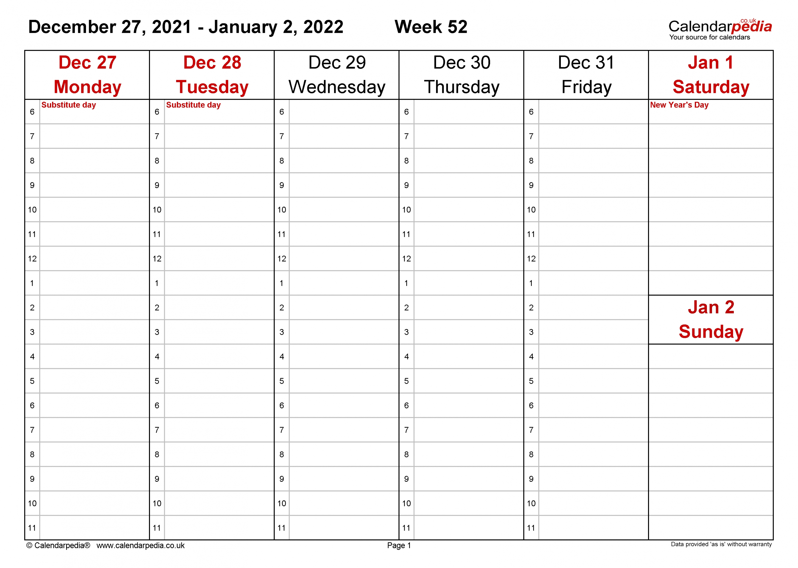Weekly Calendar 2022 Uk - Free Printable Templates For Excel