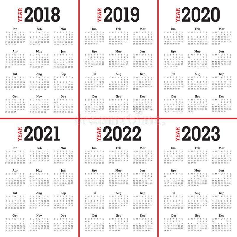 Year 2018 2019 2020 2021 2022 2023 Calendar Vector Stock