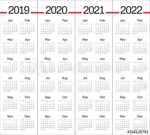 Year 2019 2020 2021 2022 Calendar Vector Design Template