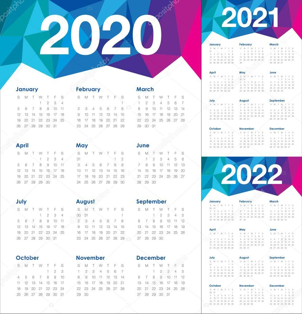 Year 2020 2021 2022 Calendar Vector Design Template