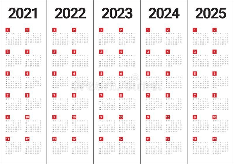 Year 2021 2022 2023 2024 2025 Calendar Vector Design