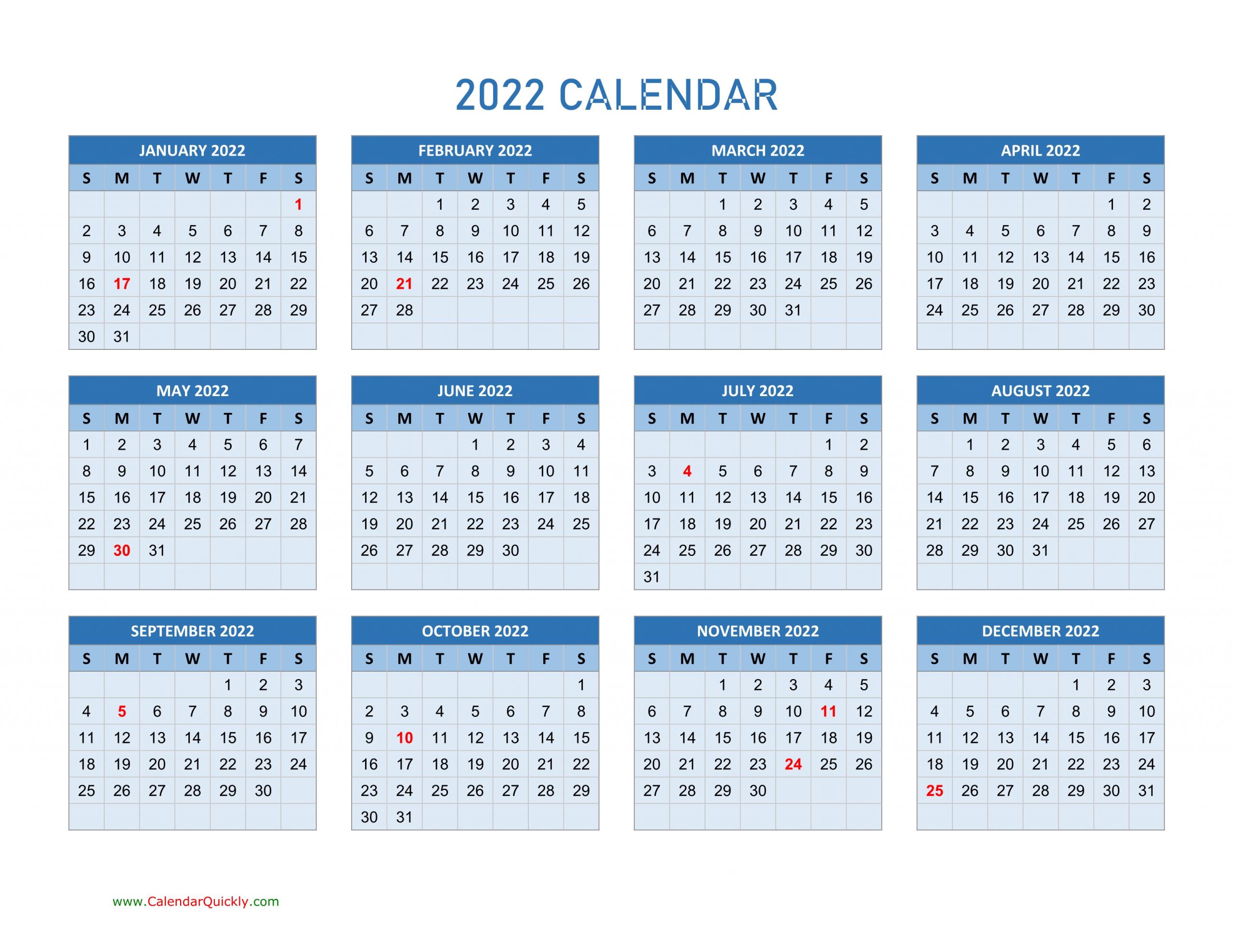 Year 2022 Calendars   Calendar Quickly