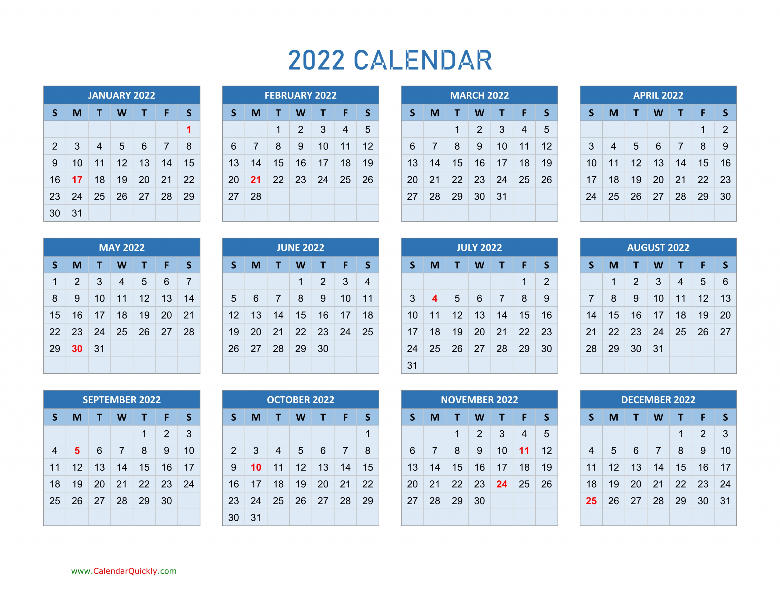 Year 2022 Calendars | Calendar Quickly