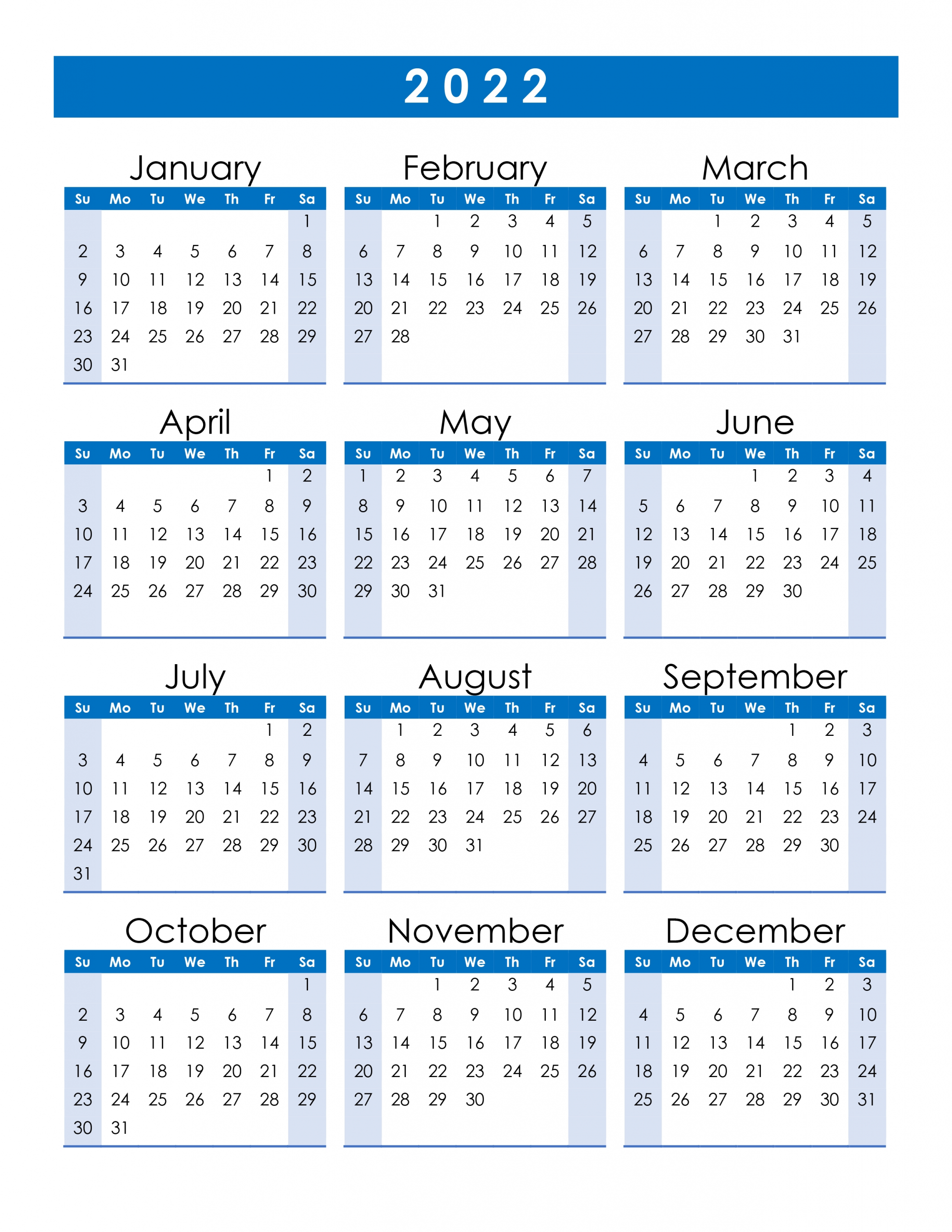 Yearly 2022 Printable Calendar | Free Letter Templates